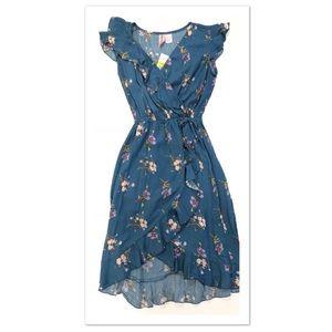 Mimi Chica Floral Ruffle Faux Wrap Dress